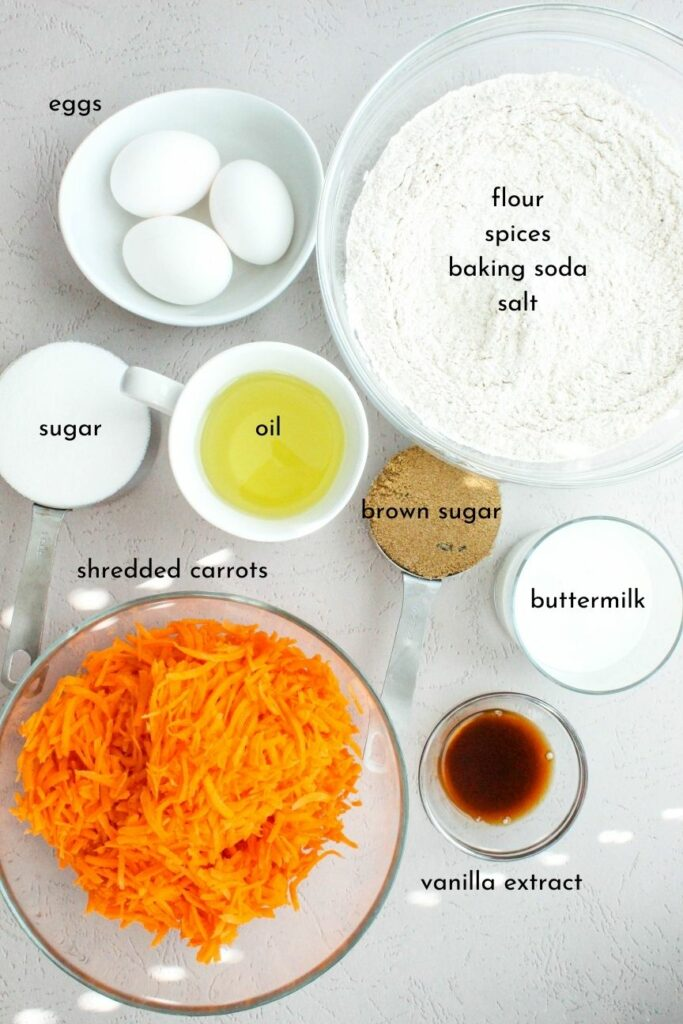 Ingredients for High-Altitude Carrot Cake